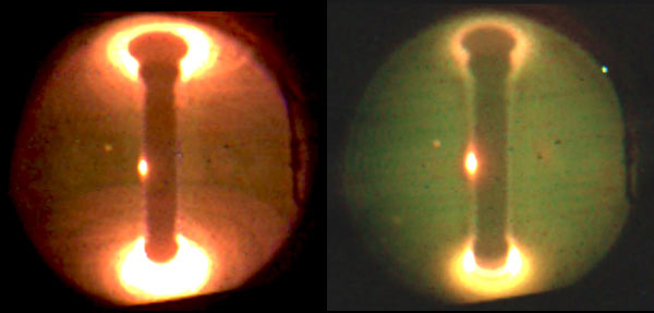 Plasma on the left without lithium and plasma on the right with lithium.