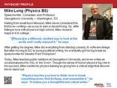 Slide 12: Physicist Profile: Mike Long