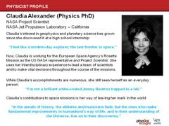 Physicist Profile: Claudia Alexander