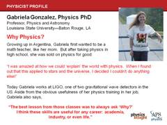 Slide 27: Physics Profile: Gabriela Gonzalez