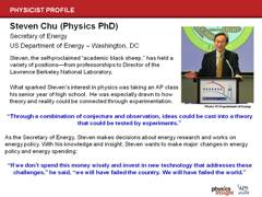 Physicist Profile: Steven Chu