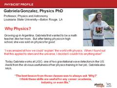 Physicist Profile: Gabriela Gonzalez