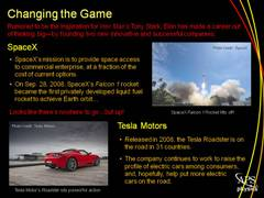 Elon's Work: SpaceX and Tesla Motors