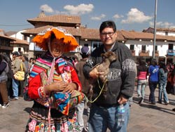 Albin with Peruvian woman in native dress