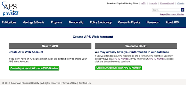 Creating An Aps Web Account