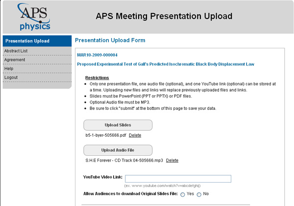 Uploading Presentations window - top