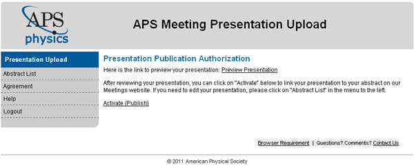 Presentation Authorization window