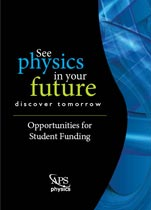 See physics in your future - discover tomorrow - Opportunities for Student Funding brochure cover