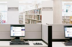 Public library showing Journals home page on its computers