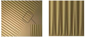 This thin plastic sheet is floating on liquid wrinkles under stress. Physicists hope experiments such as these will help develop new models to explain how other materials wrinkle. Image on right is a detail of left image.