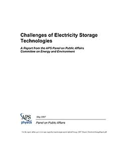 Challenges of Electricity Storage Technologies Report cover