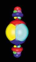 Localized orbitals in the electronic structure of the BaTiO3 crystal, calculated using density functional theory. (Photo courtesy of Nicola Marzari and David Vanderbilt/Rutgers University)