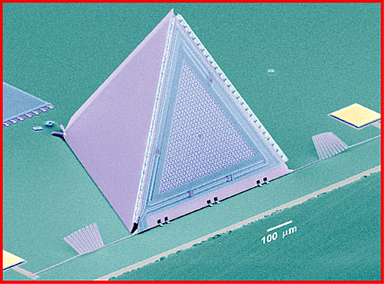 Using silicon micromachining, a state-of-the-art approach for making silicon materials with microscopic features, Peter Gammel and his colleagues at Bell Labs/Lucent Technologies in New Jersey built a microphone on a silicon integrated circuit, shown above. The base has marks with an approximate size of just 100 microns (0.1millimeters). Figure courtesy of Bell Labs/Lucent Technologies.