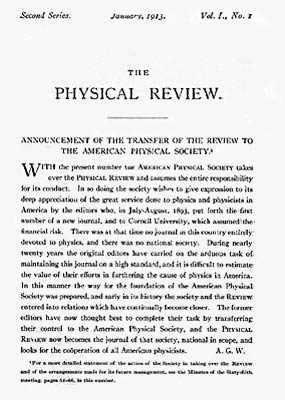 Announcement of the Transfer of the Review to the American Physical Society