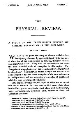 A copy of the first issue of the Physical Review