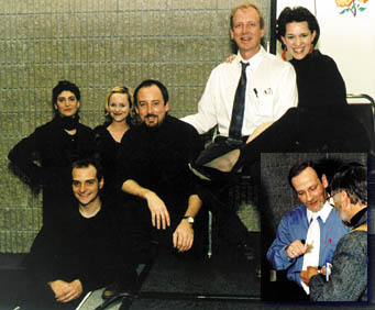 Playwright Matthew Wells (inset, bottom right) following the world premiere of his play, Schrvdinger's Girlfriend. (below) Cast members are all smiles after a successful performance: Whitt Brantley and Georgia Ribeau (top right corner) were joined by (from left) Hope Mills, Jen Apgar, Bill Murphey and (front) Jim Roof.