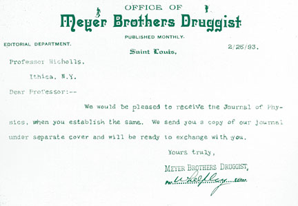 Letter from Meyer Brothers Druggist to Phys. Rev. editor, Edward Nichols, 23 Feb 1893.