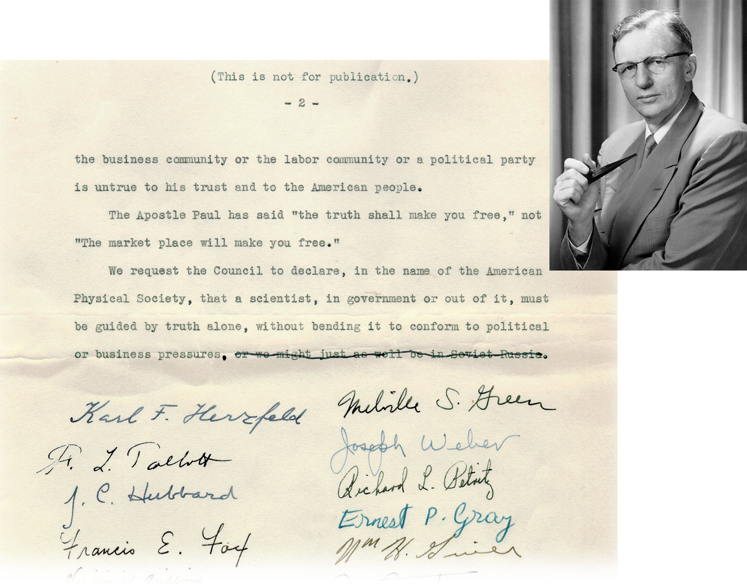 Petition submitted by Washington D.C. area APS members in April 1953 in support of Astin (detail).