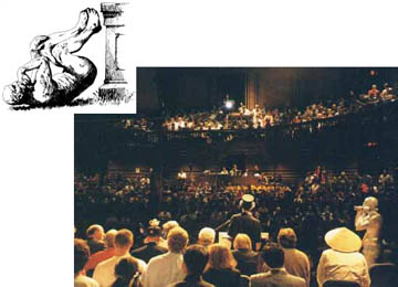 Ig Nobel 1999, as seen from a vantage point behind the winners and authority figures on stage.