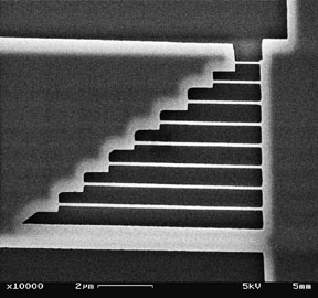 Electron microscope image of a nanofabricated device to study microscopic resonances.