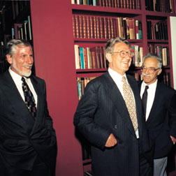 George Soros (center) with Irving Lerch, APS director of international affairs, and Ernest Henley, 1992 APS president.