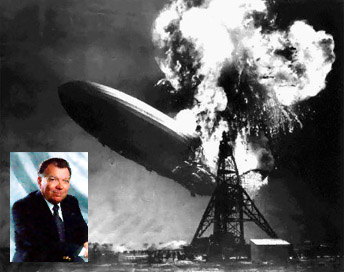 Addison Bain (inset) and the Hindenburg's final moments