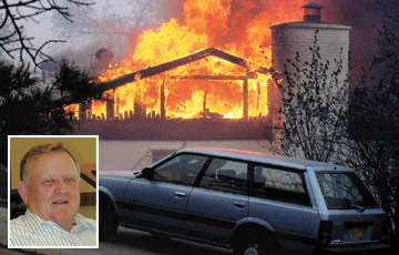A home in Los Alamos, NM burns. Inset photo of Benjamin Gibson.