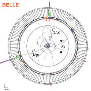 B meson decay candidate in the BELLE detector.