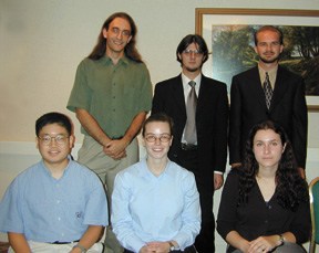 Front row (l to r): Christopher Lee, Heather Lynch, Edina Sarajlic. Back row (l to r): Jacob Krich, Andrei Bernevig, Steven Oliver. (Photo by: Ken Cole/APS)