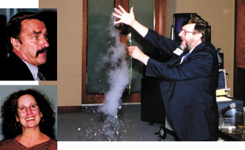Nobel Prize winner William Phillips crumbles a flower frozen with liquid nitrogen as part of his lecture on absolute zero. Top inset: Luncheon speaker James Trefil. Bottom inset: Banquet speaker Felice Frankel. (Photos by: M. Tarlton/AIP)