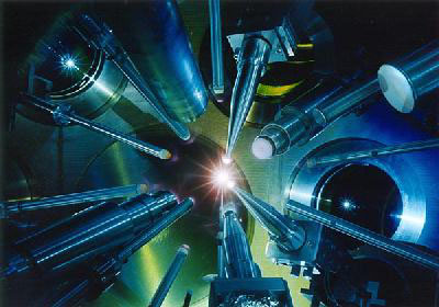 Lasers converge on a fusion target at the University of Rochester's OMEGA facility.