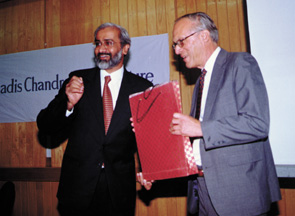 Ranjit Nair, President of the Centre for the Philosophy and Foundations of Science in New Delhi, introducing James Langer as the Jagadis Chandra Bose Lecturer for 2000.