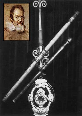 The telescope; inset of Galileo Galilei.
