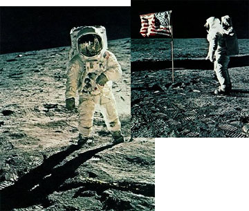 Images from the first manned lunar landing in 1969.