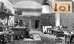 Michael Faraday's laboratory. Inset image of Faraday's apparatus. (AIP Emilio Segrè Visual Archives; Inset: http://www.the-education-site.com/faraday.html)