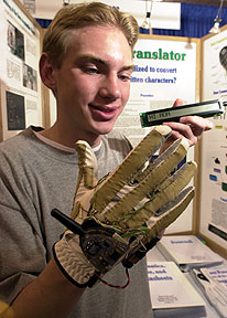 Ryan Patterson, 17, of Grand Junction, Colorado, demonstrates his sign language translator. Patterson won a $50,000 college scholarship at the Intel International Science and Engineering Fair.(Photos courtesy of Intel).