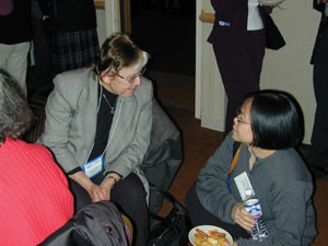 APS President-elect Myriam Sarachik chats with Tineke Thio of the NEC Research Institute at the reception following the survival skills workshop. Photo credit to Jessica Clark