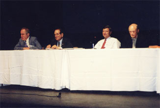 Photo by Jessica Clark. Left to right: Stanley Wojcicki, Raymond Orbach, Joseph Dehmer, William Brinkman.