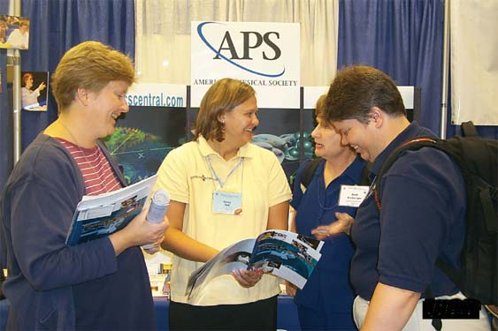 APS Public Outreach Specialist Jessica Clark (second from the left) discusses the newly updated Physics in Your Future brochure with attendees at the summer meeting of the American Association of Physics Teachers in Boise, Idaho: (from the left) Patricia Sievert of Northern Illinois University, Andi Erzberger of Lawrence Berkeley Laboratory, and Beth Beiersdorf of the University of Notre Dame.