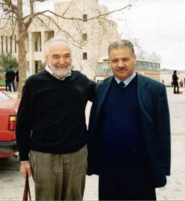 Joel Lebowitz (left) at Birzeit University with Dean of Science Aziz Shawabka.