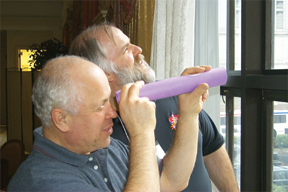 Boris Dirnbach and Dave Smith try out a pinhole viewer