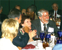 Irving Lerch enjoys, and responds to, a friendly roast at the APS Council meeting in November
