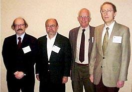 The Southeastern Section of the American Physical Society held its 70th annual meeting in concert with the Society of Physics Students and the American Association of Physics Teachers at Wrightsville Beach NC on November 6-8 hosted by the University of North Carolina at Wilmington. Four members were presented with awards for outstanding contributions to physics in the region. They are (r to l): Jerzy Bernholc, Beams Award winner, and William Hamilton and Warren Johnson, Slack award winners, and John Foley, Pegram award winner.