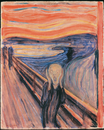 The Scream (1893) by Edvar Munch (National Gallery, Oslo, Norway)