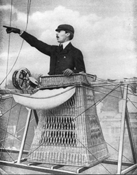 Alberto Santos-Dumont at the helm of one of his airships.