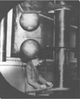 Atomic nuclei could be split apart in 'atom-smashers' like this one built by Cockcroft and Walton. Photo Credit: AIP