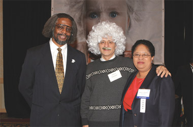 The older 'Albert Einstein' (center) poses for the camera with S. James Gates of the University of Maryland and AAAS President Shirley Jackson. Earlier that evening, Gates had delivered a plenary lecture at the AAAS meeting on 'Einstein's Lessons for the Third Millennium.'