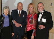 Brian Schwartz of the City University of New York (right) was one of the chief organizers of the gala. He is shown here with (l to r) Iris Ovshinsky and Stanford Ovshinsky of ECD Ovonics, and Franmarie Kennedy of MacNeil/Lehrer Productions