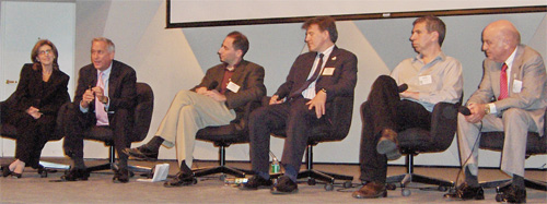 The panel was moderated by APS President Marvin Cohen (in the photo at extreme right). Other panelists included (l to r): Paula S. Apsell, Walter Isaacson, David Kaiser, Gary Johnstone, and David Bodanis.