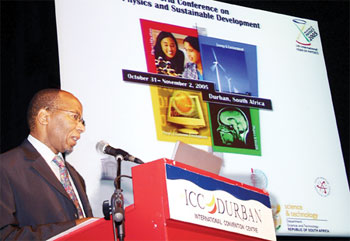 South Africa Minister of Science & Technology Mosibudi Mangena officially opens the conference